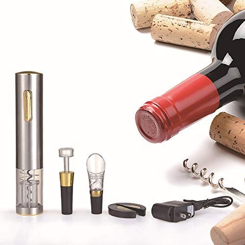 ZYG.GG Electric Bottle Opener, Professional Automatic Corkscrew Wine Opener, Luxury Gift Set with Deluxe Package and Wine Accessories Set of Foil Cutter, Wine Pourer and Vacuum Wine Stopper