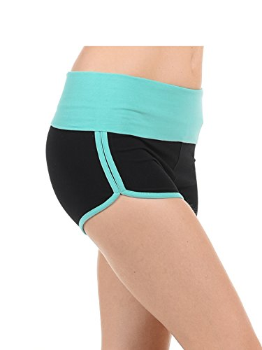Athletic Curves Trimming Hot Yoga Shorts: Shorts for Women high Waisted Stretch BLK/Mint S by EttelLut
