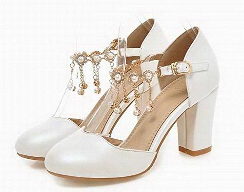 Sandals Solid Buckle Toe White VogueZone009 Round CCALP014557 Heels High Pu Women qOn6wPCS