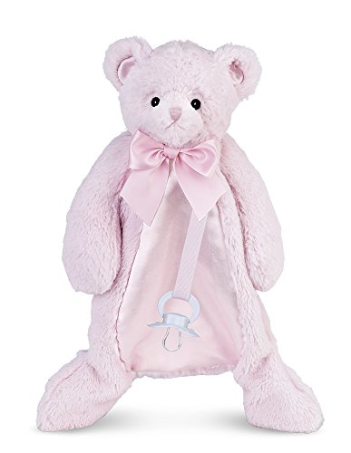Bearington Baby Huggie Bear Pacifier Pet, Pink Teddy Plush Stuffed Animal Lovie and Paci Holder, 15