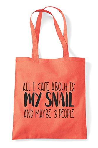Themed About All Snail And Shopper Coral Maybe Care Funny Three Cute Tote Animal Is I My People Bag qOOrgw