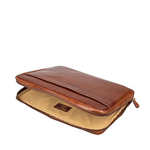 Maxwell Scott Luxury Handmade Italian Leather Laptop / Macbook Sleeve 15 inch (The Verzino) - One Size by Maxwell Scott Bags (Image #5)