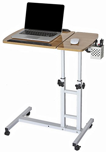 CA&HomeDecor Height Adjustable Office Desk Rolling Laptop Desk Cart Over Bed Hospital Table Stand TV Table, Natural
