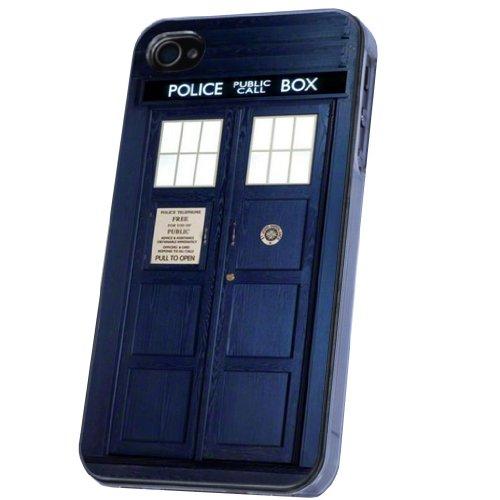 Doctor Who Tardis Police Call Box Stil Designer iphone 4 4S Hülle Case Back Cover Metall und Kunststoff-Löschen Frame