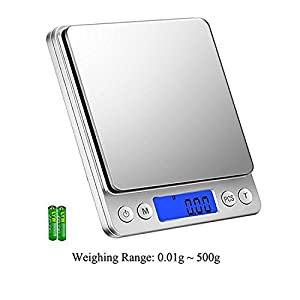 Food Scale Kitchen Digital Weighing Scale from 0.01 to Max 500 gram Jewelry Weight Compact Scale Include 6 Kinds of Units Such as Grams, Ounces and Others.Multifunction Smart waterproof gram Scale