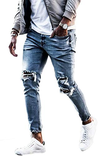 FUOE Men's Casual Slim Fit Denim Jeans Ripped Skinny Distressed Destroyed Side Striped Zipper Holes Pants Jeans (33, Style-1-Blue) ()