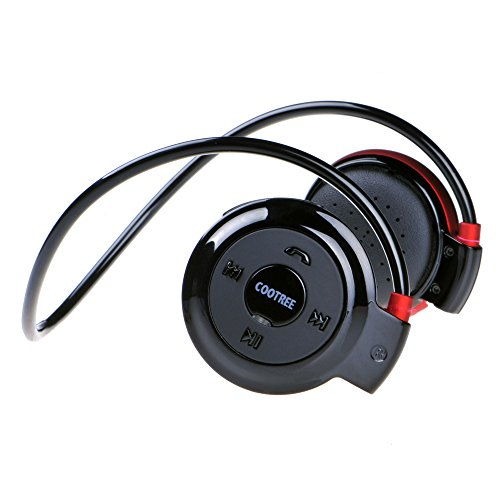 Cootree Wireless on Ear Headphone Bluetooth Sport Headset Water Resistant with Microphone Black/Red