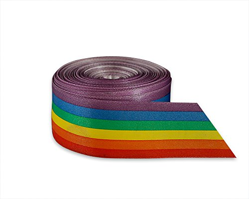 Satin Rainbow Striped Ribbon by The Yard for Gay Pride, LGBTQ Awareness (10 Yards)