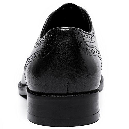 Hombre Desai Cordones Oxford Con Piel Zapato Para Negro Brogue 1Tq7B1