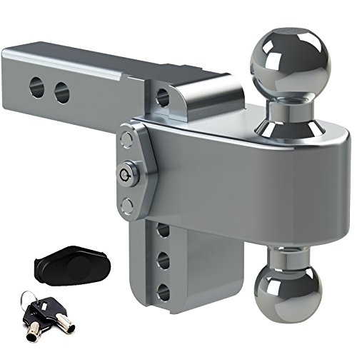 Weigh Safe LTB4-2, 4 Drop 180 Hitch w/ 2 Shank/Shaft, Adjustable Aluminum Trailer Hitch & Ball Mount, Stainless Steel Combo Ball (2 & 2-5/16) and a Double-pin Key Lock