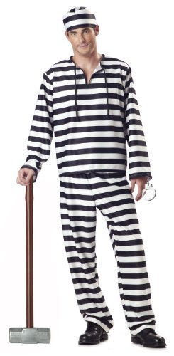 Mens Jailbird Large Fancy Dress Costume Prisoner Inmate Adult Outfit by Mega Fancy Dress ()