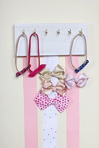 Handmade Pink Ribbon (White Wood Ribbon Bow Organizer & Headband Holder/Poplar Plaque Hooks/Organizer Handmade/High Quality/Nursery Girls Room Decor/(pink white ribbon))