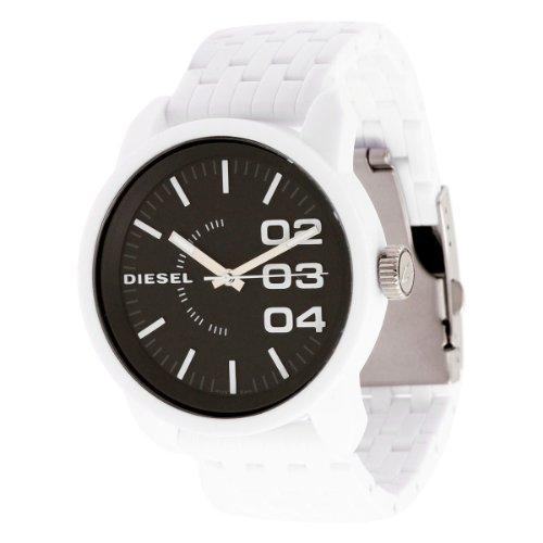 - Diesel P46 series DZ1522 black analog dial white resin strap unisex watch NEW