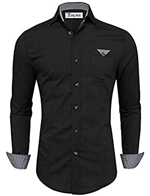 Tom's Ware Mens Classic Contrast Slim fit Long Sleeve Shirt