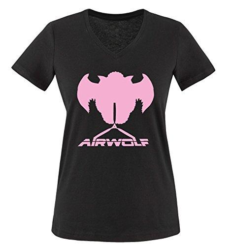 Negro Camiseta Schwarz Rosa wolf Air Manga Corta Mujer wST6pvSq