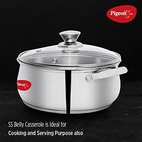 Pigeon-by-Stovekraft-Stainless-Steel-Belly-Casserole-with-Glass-Lid-14-cm-Silver