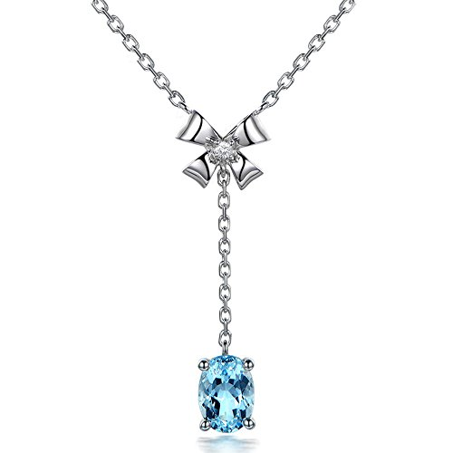 Fantastic Vintage Oval 14Kt White Gold Diamond Sky Blue Aquamarine Engagement Wedding Pendant Sets for Women by Kardy