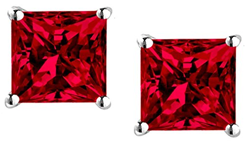 Cubic Zirconia Synthetic Ruby Pendant and Earrings Combo Gift Set 1 Ct Each Stone 2 Ctw Earrings