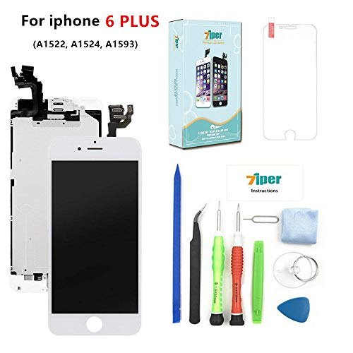 Screen Replacement for iPhone 6 Plus (5.5) - LCD Display Touch Digitizer Frame Assembly Set with Proximity Sensor, Front Camera, Earpiece, Tempered Glass, Repair Tools and Instruction (White)