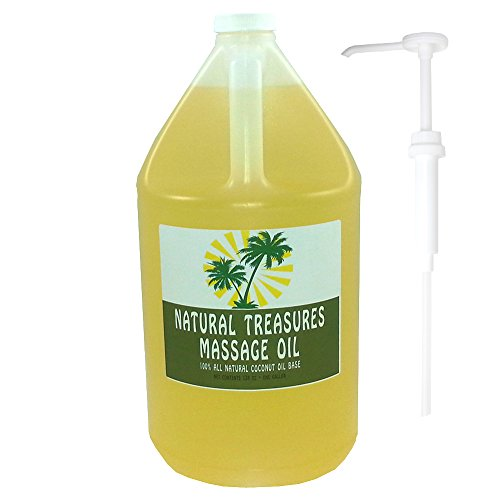 One-Gallon-Organic-Gluten-Free-Massage-Oil-Coconut-Oil-Base-with-Easy-to-Use-One-Ounce-Dispensing-Pump