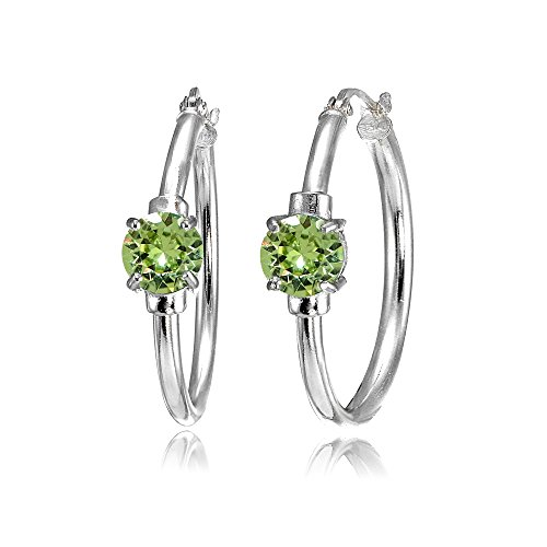 - Sterling Silver Light Green Round Solitaire 25mm Hoop Earrings Made with Swarovski Crystals