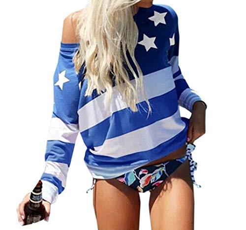 Shirts Shirts Shirts Imprime Tee Hauts Legendaryman T Oblique Manches toile Fashion paule Bleu Automne Jumper Blouse Femmes Printemps Longues Tops Patchwork Casual Sweat IP0qO
