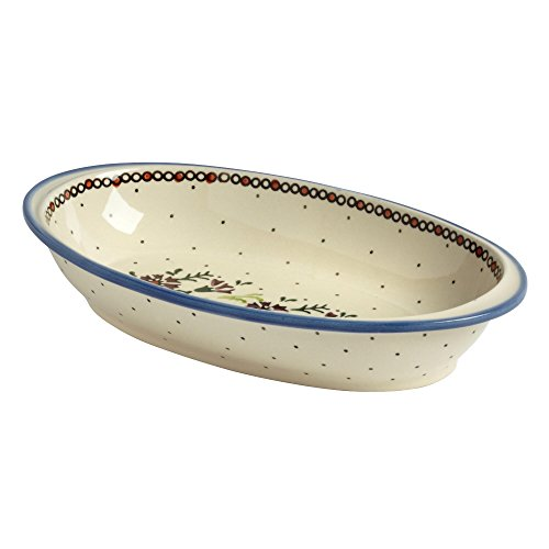 - Polish Pottery Watercolor Flowers Handmade Oval Vegetable Bowl (11-inch)
