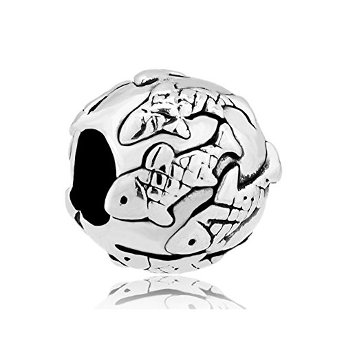 (LovelyJewelry Silver Plated Animal Fish Pave Charm Beads For Bracelet)