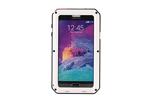 Galaxy Note 4 case,Amever Luxury Shockproof Waterproof Dust/dirt/snow Proof Aluminum Metal Protection Case Cover for Samsung Galaxy Note4 N9100 with Front Cover and Built-in Screen Protector