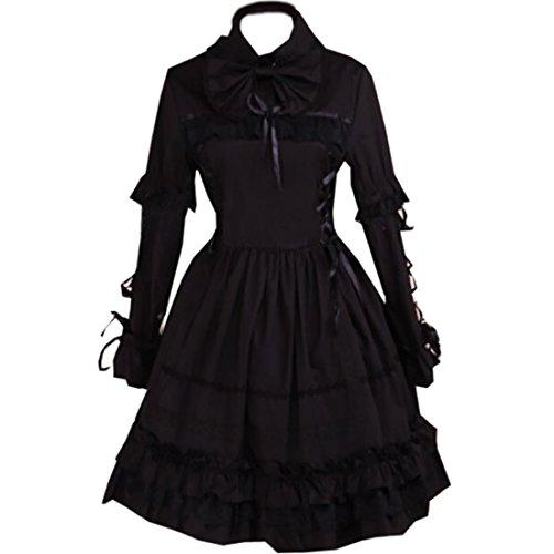 Partiss Damen Baumwolle Schwarz Gothic Lolita Kleid Schwarz gPKsC ...