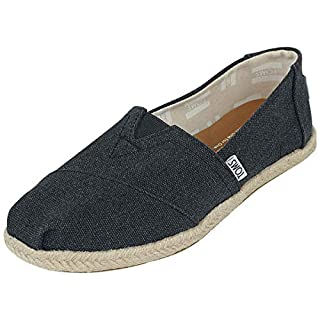TOMS Women's Classic Washed Canvas Rope Sole Black Slip-On Shoes - 9.5M
