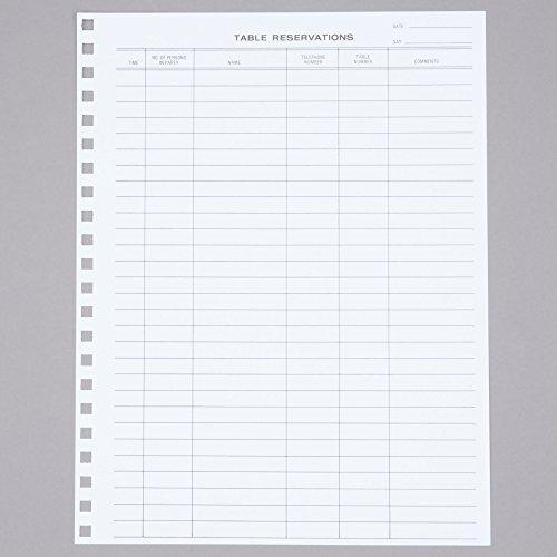 Menu Solutions R020 Reservation Book Replacement Sheets - 50/Pack (Solutions Menu Menu)