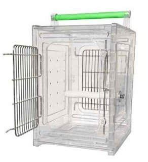 Parrot Travel Carriers (ACRYLIC PARROT TRAVEL CARRIER CAGE bird cages toy toys Quakers, Lories, Senegal, parakeet, parrot)