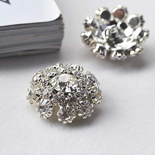 Crystal Cluster Button - Maslin New Hot Sale Diamond Rhinestone Crystal Cluster Button DIY Scrapbooking Craft Button Clothes Decoration DIY Accessories - (Color: 1)