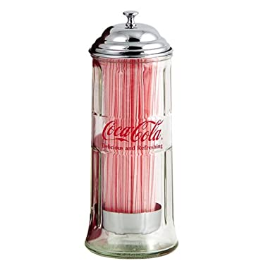TableCraft Coca-Cola CC322 Glass Straw Jar Dispenser