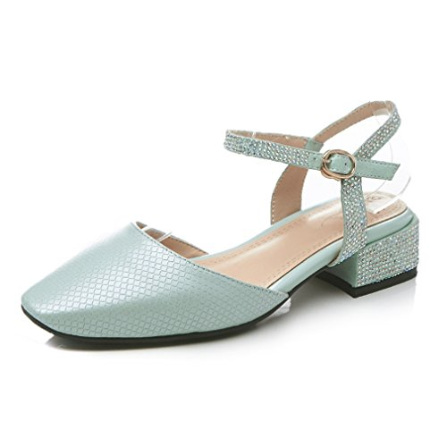 ENMAYER Womens Ankle Strap Buckle Square Toe Shoes for Block Heels Summer Casual Fashion Sandals Gray Blue lNbiZf6