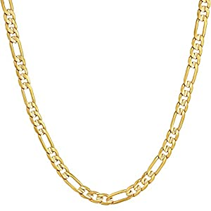 Best Epic Trends 41ID0KA22iL._SS300_ LIFETIME JEWELRY 4mm Figaro Chain Necklace 24k Gold Plated for Men Women & Teens