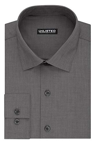 Kenneth Cole Unlisted Men's Dress Shirt Slim Fit Solid ,  Slim Graphite,  16