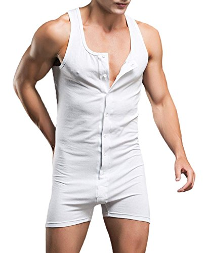 Men's Short Sleeve Leisure Cotton Stripes Jumpsuits Overalls Short Pants (US XL=Tag 3XL(Asian Size), White)