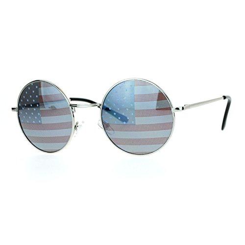 USA American Flag Print Lens Sunglasses Round Circle Metal Frame - Usa Circle Lens