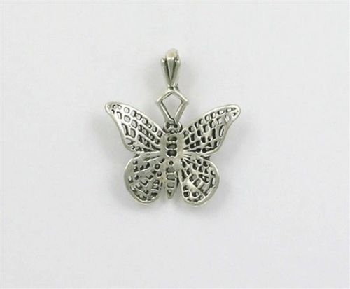 - Sterling Silver Detailed Butterfly Charm - Jewelry Accessories Key Chain Bracelet Necklace Pendants