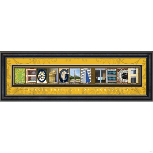 Prints Charming Letter Art Framed Print, Georgia Tech-Georgia Tech, Bold Color Border