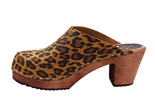 With Base Heel Lotta Brown High Clog Leopard In From Classic Stockholm Clogs Swedish TqX6w7vq