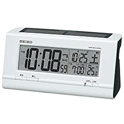 Seiko clock radio digital alarm clock radio clock hybrid solar type plastic frame ( white pearl paint ) SQ766W