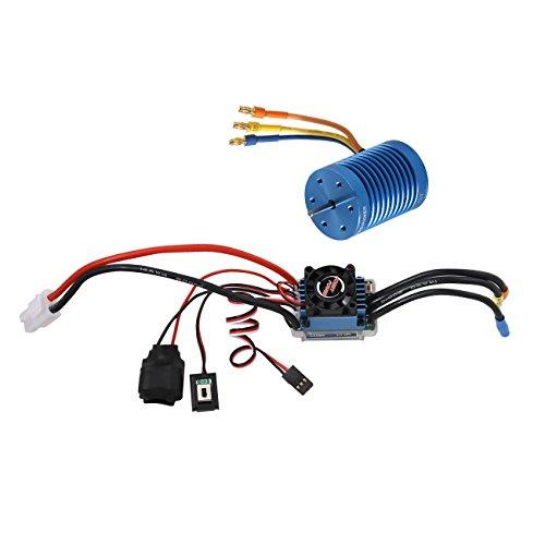 SkyQ Racing 60A ESC Brushless Speed Controller + 10T 3900KV Motor for 1/10 1/12 RC Car (1 10 Brushless Combo)