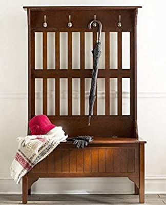 Amazon.com: Hall Trees with Bench and Coat Racks - Cherry ...