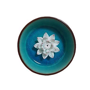 Derker Lotus / Water Lily Flower Round Ice-cracked Ceramic Incense Holder ,Incense Burner,Incense ashtray. (Lake Blue)