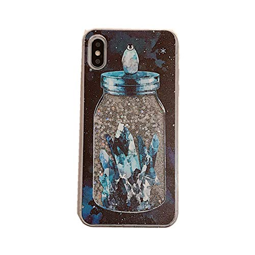 Transparent Hard Plastic Liquid Glitter Flowing Blue Wish Bottle Penguin Case for Apple iPhone Xs X iPhoneXS iPhoneX Soft Frames Clear Water Floating Glittery Sparkling Shiny Bling Crystal Girls Kids