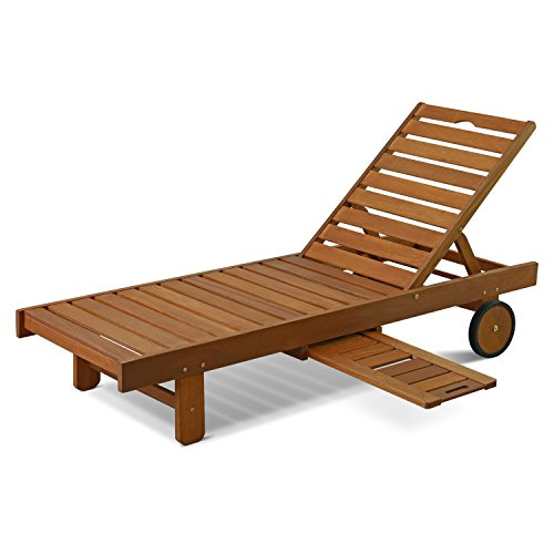 Hardwood sun lounger with tray