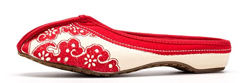 White AvaCostume Slippers Womens Print Porcelain Blue Flat Red and r0t0q
